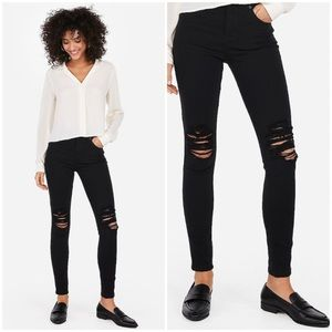Express black high rise distressed legging jeans